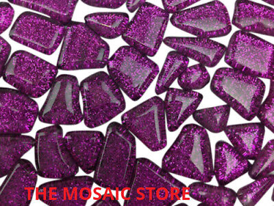 Purple Glitter Glass Tiles - Irregular Shape - Mosaic Tie Art & Craft Supplies