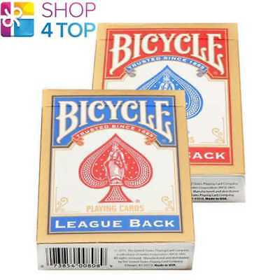2 Decks Bicycle League Back Standard Index Poker Playing Cards 1 Blue 1 Red Usa