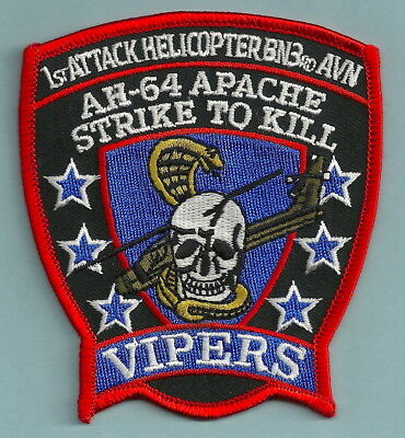 U.s. Army Ah-64 Apache 1St Attack Helicopter Bn 3Rd Avn Vipers Aircraft Patch