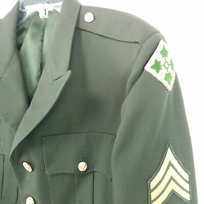 US Army Mens Class A Dress Green Jacket Coat Sz 41 Reg DSCP 4th Infantry Patch