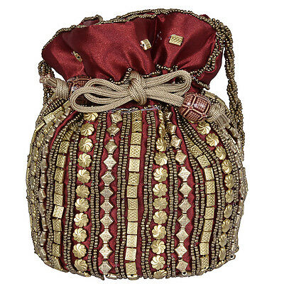 Indian traditional Wrist let beads mirror embroidery potli pouch Purse Code 15