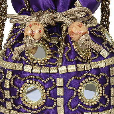 Indian traditional Wrist let beads mirror embroidery potli pouch Purse Code 13