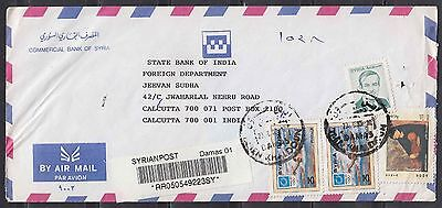 syria  to india  cover with 4 stamps        a33.18
