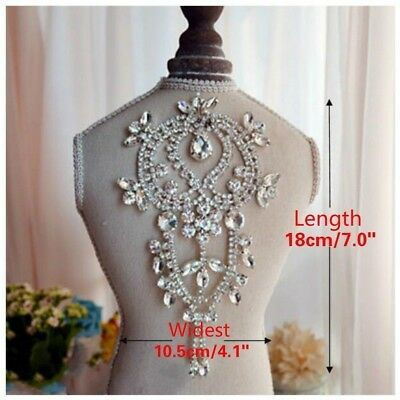 Crystal Rhinestone Hair Accessories Bridal Dress Appliques Costume Trim Luxury