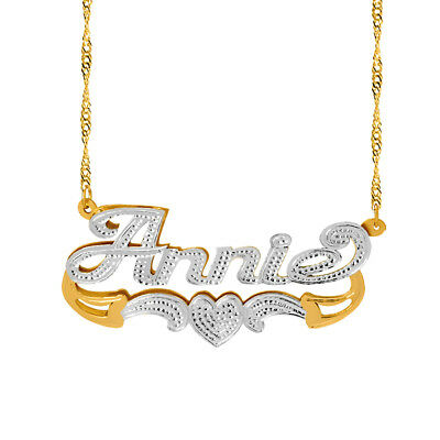 Personalized Sterling Silver Script Any Name Double Plate Necklace w/ Heart