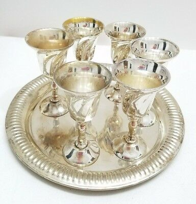 Vintage- MAURICE DUCHIN-INDIA- 6 CORDIAL GOBLETS W. SERVING TRAY- SILVER PLATED