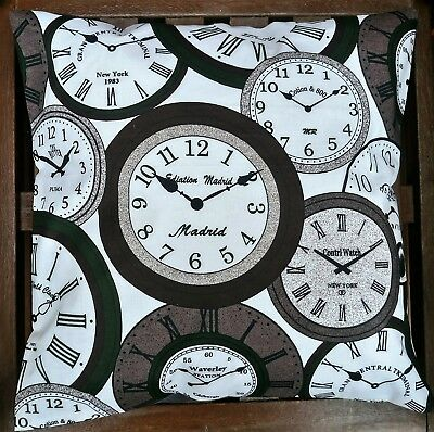 VINTAGE CLOCKS COTTON CUSHION COVER GREY/WHITE/BROWN 40x40cm / 16x16ins