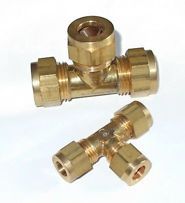 Tee connector tube x tube x tube, with copper olives, LPG, Gas, Hydraulics  20xx