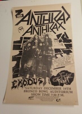 Anthrax & Exodus and Celtic Frost Z Rock Concert Poster Bronco Bowl Dallas 1988
