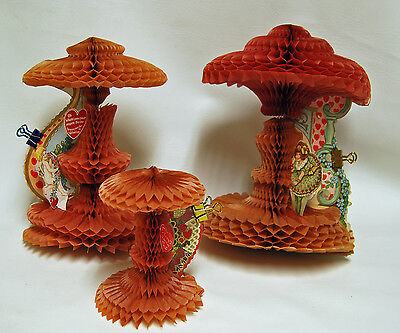 3 - Vintage 1920-30's Honeycomb Die Cut Valentine's Day Greeting Card Stand Up