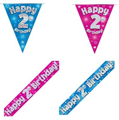 4TH BIRTHDAY PARTY BUNTING BANNER PINK HOLOGRAPHIC 11 FLAGS 3.9M