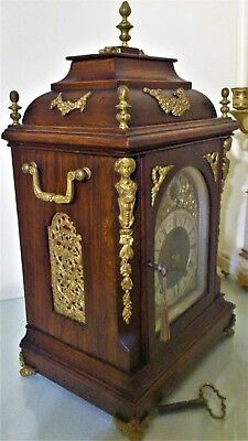 Antique German Gilt Metal Mounted Oak Ting-Tang Mantel/Bracket Clock.