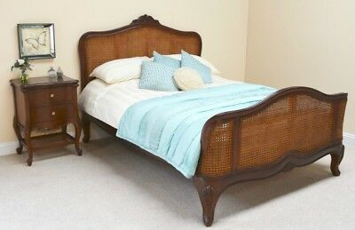 """4'6"""" Double Size Antique Wax Mahogany & Rattan French Colonial Style Bed + Slats"""