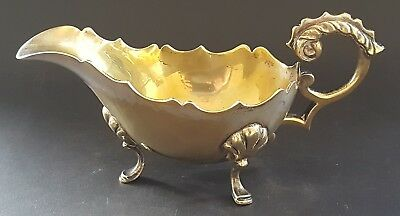 Silver plate electroplate vintage Victorian antique footed gravy sauce boat jug