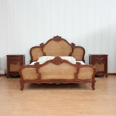 """4' 6"""" Double Size Antique Waxed Mahogany & Rattan French Colonial Arch Bed"""