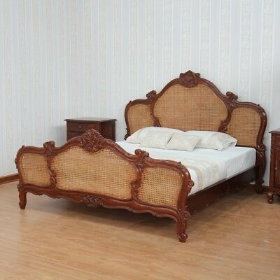 5' King Size Antique Waxed Mahogany & Rattan French Colonial Arch Bed