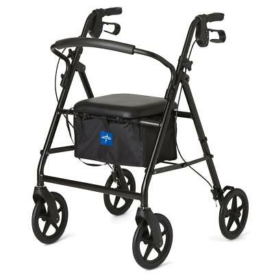 """NEW Rollator With 8"""" Casters Rollator Walker Black Padded Bottom Cushion Seat"""
