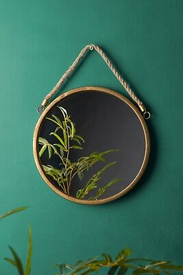 Gold Round Wall Hanging Mirror Glass Metal Hessian Rope Vintage Antique Style