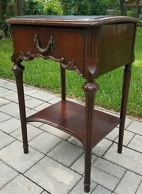 Antique French Louis XVI style walnut wood nightstand candle stand vintage