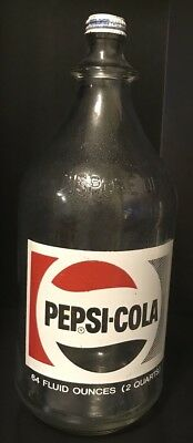 Vintage Pepsi Cola Rare 64 Oz 2 Quart ACL Painted Glass Soda Bottle w/ Cap Clean