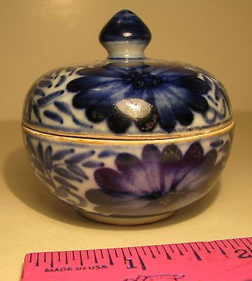 Small Blue & White Covered Bowl Floral Motif For Spices Teas Trinkets Free Ship