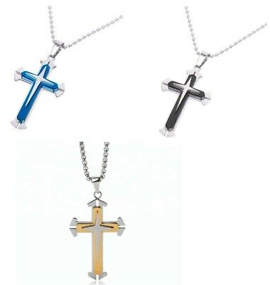 Cross Pendant Necklace Stainless Steel Unisex Crucifix Black BLUE Gold w/ Chain