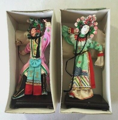 Pair Vintage Chinese Opera Dolls Signed Silk Hand Painted