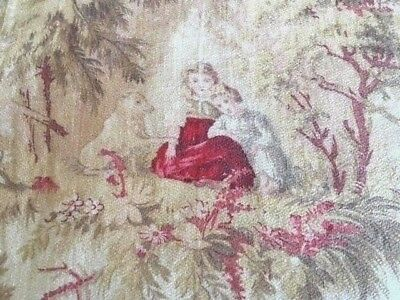 Antique 19th C French Fabric Roses Fairytale Wolf Children Reds Pinks Blue