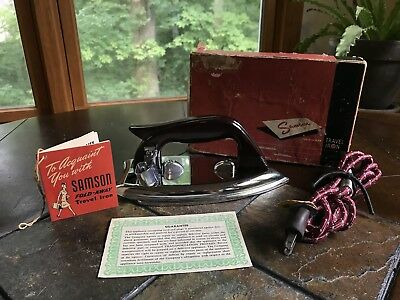 Vintage Samson Fold Away Travel Iron Great Condition In Original Box