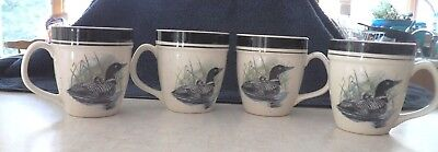 Folkcraft Stoneware Loon Lake By Scottyz - 4 Coffee Cups Mugs
