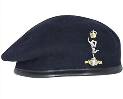 Navy Blue Royal Signals Beret and Official Issue ORs' Cap Badge SIZES 52 - 62cm