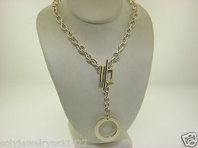 """Sterling Silver 925 16.5"""" Long Chain Toggle Necklace w/ Drop Circle #27"""