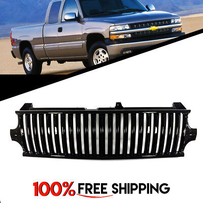 for Silverado 99 to 02 Suburban 00 to 06 Tahoe Vertical Style Grill Grille Black