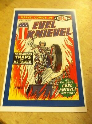 Vintage Replica Tin Metal Sign Evel Knievel show event motor cycle bike  poster