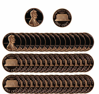 1994 Gem Proof Lincoln Cent Roll - 50 US Coins