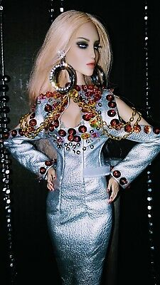 """Luxurious Silver - Gown For Fashion Royalty 12"""" Dominion And Sybarite 12"""" Dolls"""