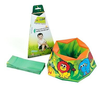 ComfyDo Disposable and Foldable Travel Potty Jungle Fun Hygienic Chair On The Go
