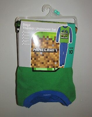 Boys Minecraft Thermal Underwear Set (Size 10) BRAND NEW WITH TAGS