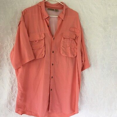 Rugged Earth Men S Size Xl Peach Color Vented Short Sleeve Fishing Shirt 55