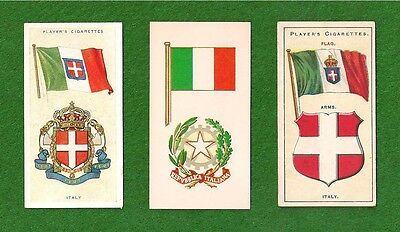 Flags of ITALY  National Flag   Bandiera d'Italia  1905 1938 1967 vintage cards