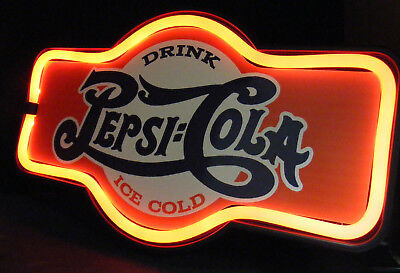 "Led Drink Ice Cold Pepsi-Cola 17"" Marquee Shaped Sign - Looks Like Real Neon!!!"