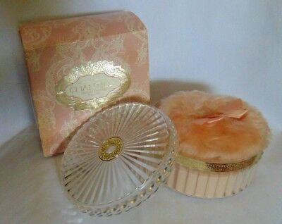 Chantilly Deluxe 6oz Dusting Powder Pink Box w/Lace  NICE  Vintage