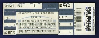 Eagles Concert Ticket Stub St Pete Times Forum Tampa Florida May 13 2003