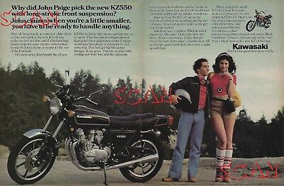 1980 Kawasaki KZ550 LTD Motorcycle 2 Page Magazine Ad Pretty Girl KZ 550 Limited