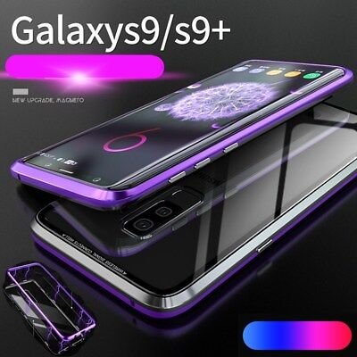 Luxury Magnetic Metal Frame Tempered Glass Back Case Cover For Samsung S9/8 Plus