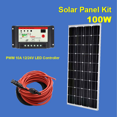 100Watt 100W Solar Panel Kit with PWM 10A 12/24V Solar Charge Controller Offgrid