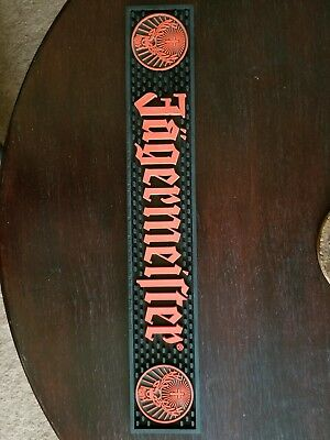 "Jagermeister Bar Rail Mat 20"" X 3.5"" Barware Spill Mat Cocktail Rubber Black New"