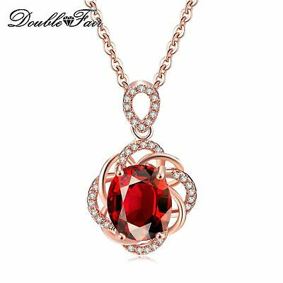 Oval Shape Red CZ Stones 18K Rose Gold Plated Necklaces & Pendants For Women