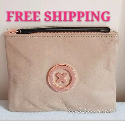 Free Post Mimco Supernatural Pancake Rose Gold  Medium Pouch Cow Leather Rrp99.9