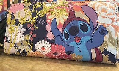 New Disney's Lilo and Stitch Floral Stitch Zipper Wallet By Lounglefly